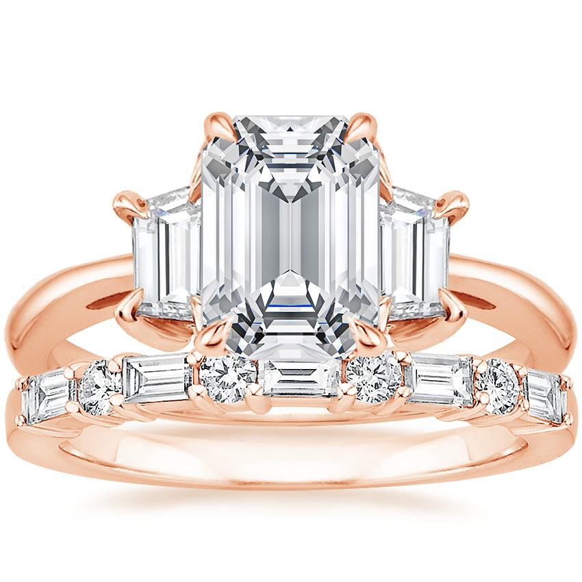 14K Rose Gold Embrace Diamond Ring (1/2 ct. tw.) with Leona Diamond Ring (1/3 ct. tw.)