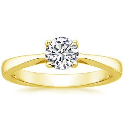 Round 18K Yellow Gold Petite Tapered Trellis Plus Ring