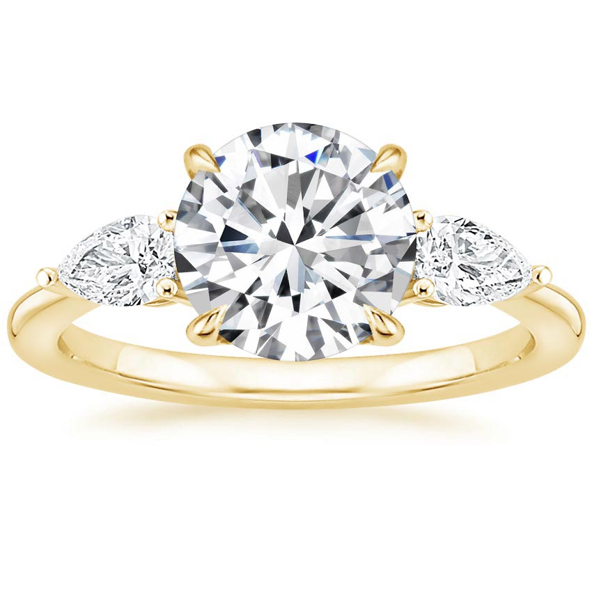 Round 18K Yellow Gold Opera Diamond Ring