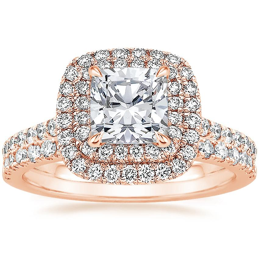 14K Rose Gold Soleil Diamond Ring with Bliss Diamond Ring (1/5 ct. tw.)