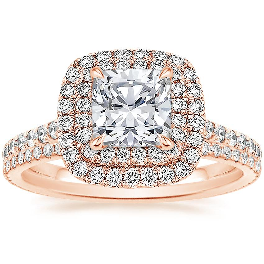 14K Rose Gold Soleil Diamond Ring with Whisper Eternity Diamond Ring (1/4 ct. tw.)