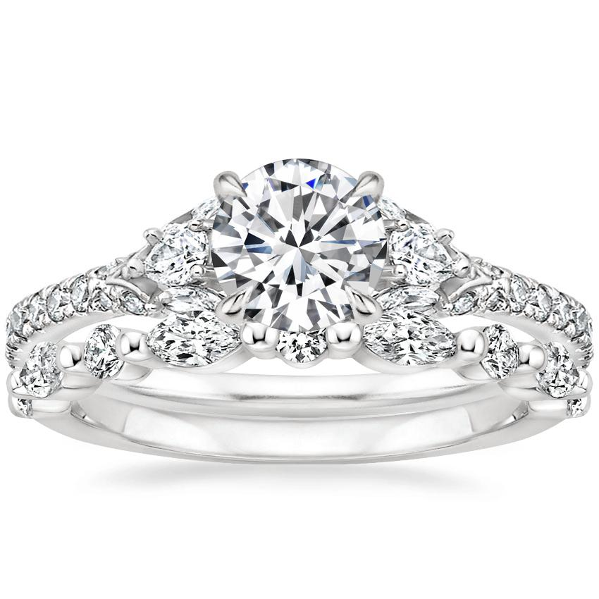 Platinum Ava Diamond Ring (1/2 ct. tw.) with Versailles Diamond Ring (2/5 ct. tw.)