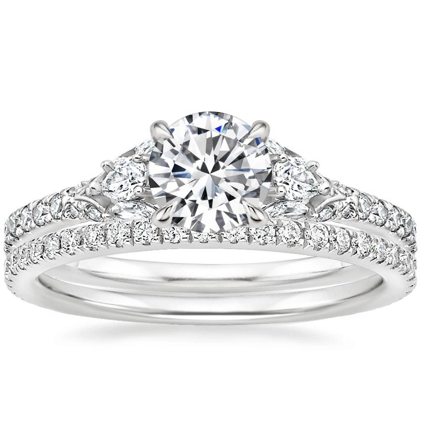 Platinum Ava Diamond Ring (1/2 ct. tw.) with Luxe Ballad Diamond Ring (1/4 ct. tw.)