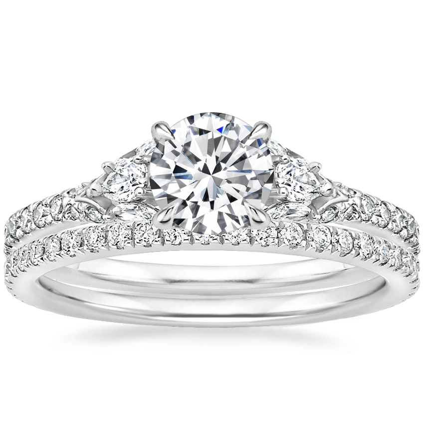 18K White Gold Ava Diamond Ring (1/2 ct. tw.) with Luxe Ballad Diamond Ring (1/4 ct. tw.)