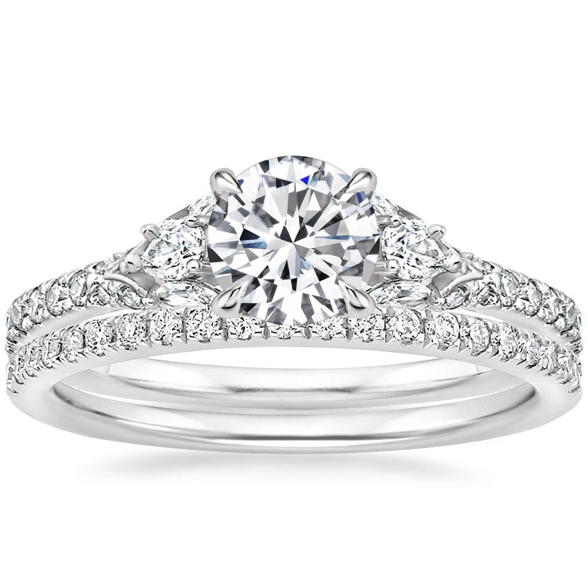 Platinum Ava Diamond Ring (1/2 ct. tw.) with Ballad Diamond Ring (1/6 ct. tw.)