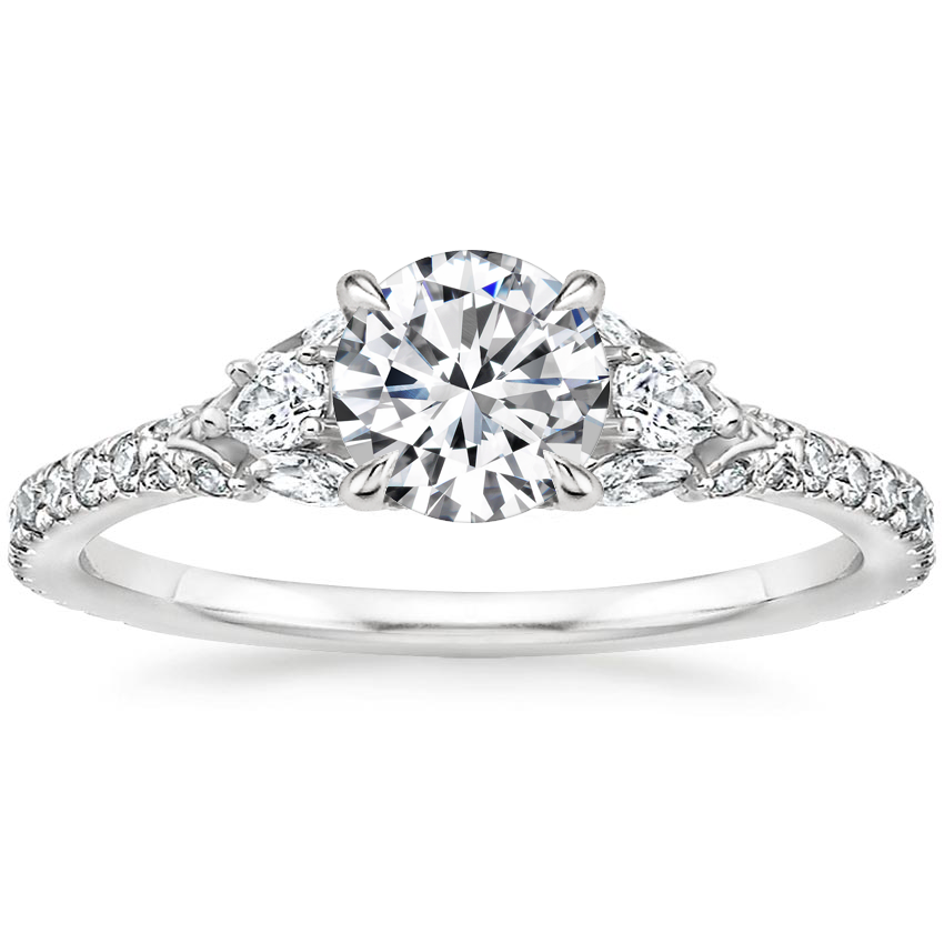 Round Pear Diamond Accent Ring