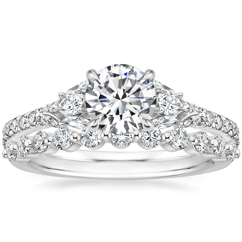 Platinum Ava Diamond Ring (1/2 ct. tw.) with Marseille Diamond Ring (1/3 ct. tw.)
