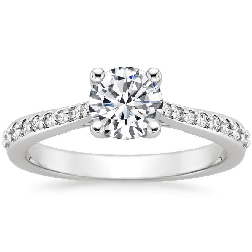 18K White Gold Geneva Diamond Ring, top view
