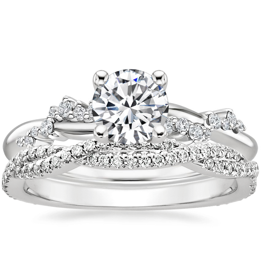 18K White Gold Pirouette Diamond Ring with Petite Luxe Twisted Vine Diamond Ring (1/4 ct. tw.)