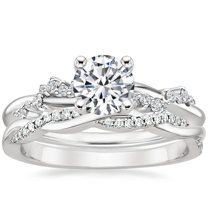 18K White Gold Pirouette Diamond Ring with Petite Twisted Vine Diamond Ring (1/8 ct. tw.)