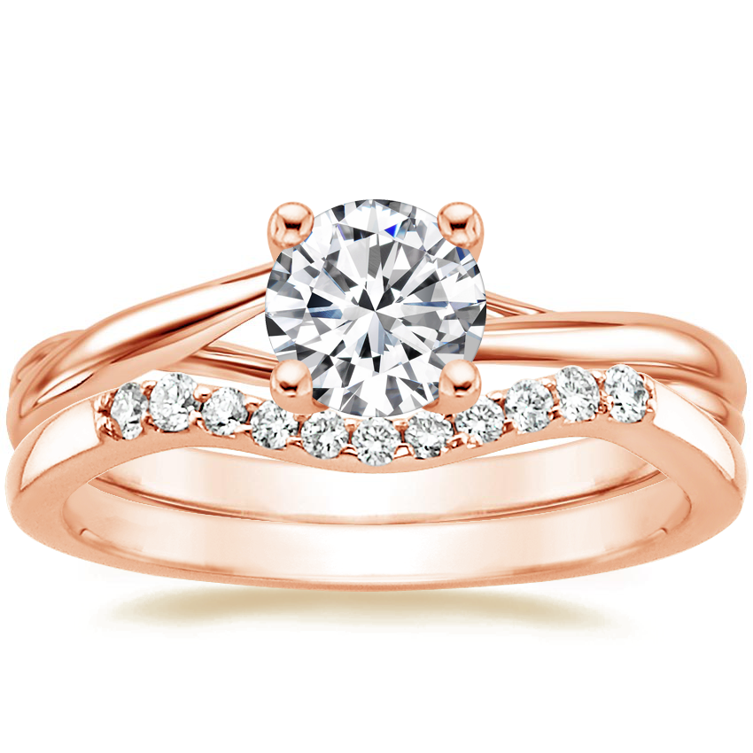 14K Rose Gold Grace Ring with Chamise Contoured Diamond Ring (1/10 ct. tw.)