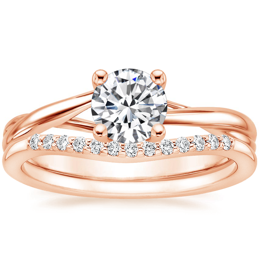 14K Rose Gold Grace Ring with Petite Curved Diamond Ring (1/10 ct. tw.)