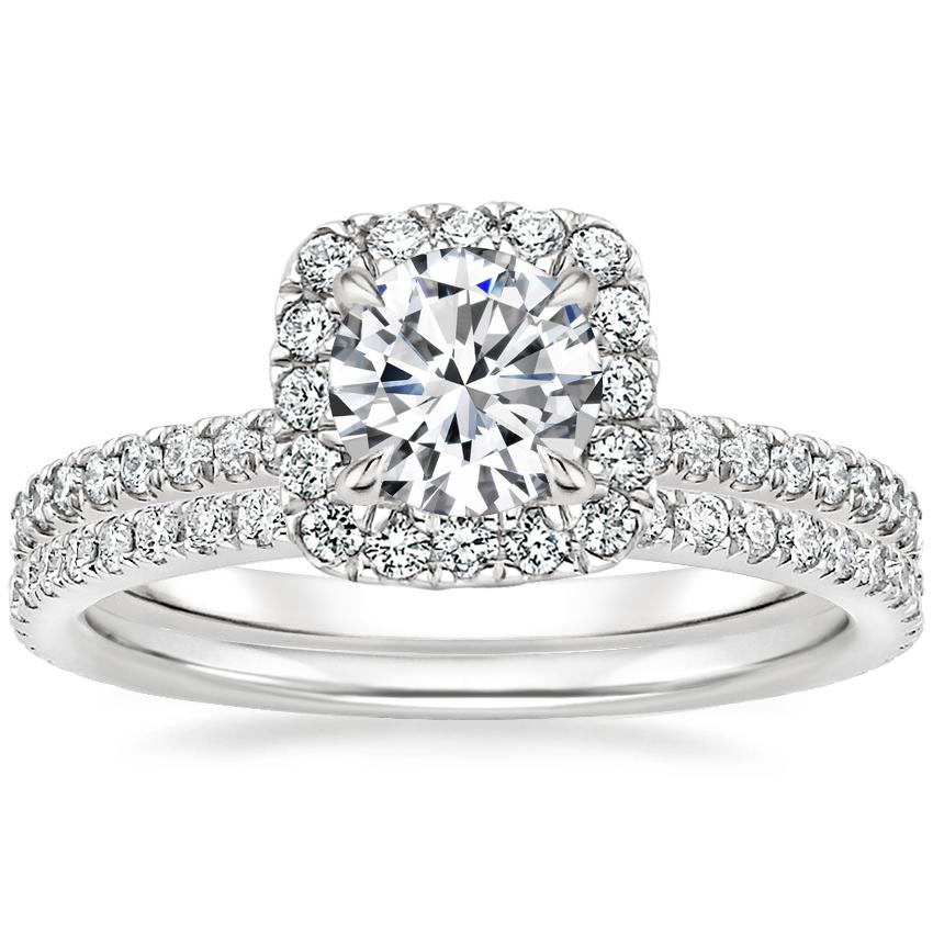 18K White Gold Giselle Diamond Ring (1/2 ct. tw.) with Luxe Ballad Diamond Ring (1/4 ct. tw.)