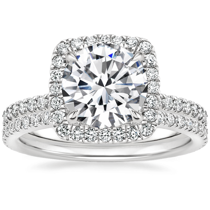 Platinum Giselle Diamond Ring (1/2 ct. tw.) with Luxe Ballad Diamond Ring (1/4 ct. tw.)