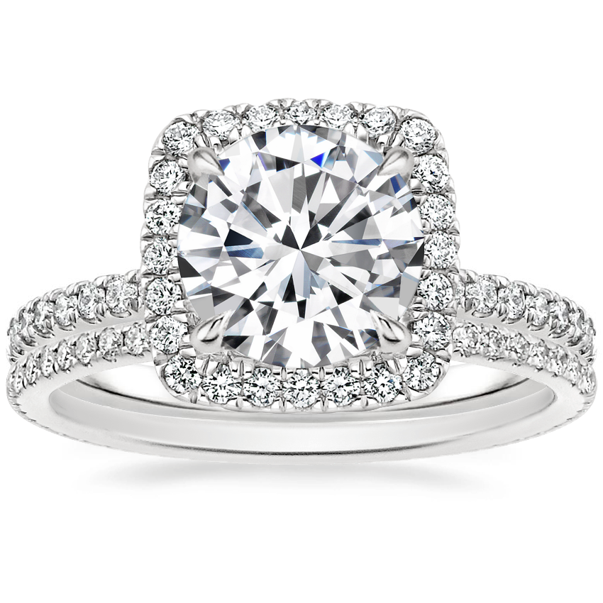 18K White Gold Giselle Diamond Ring (1/2 ct. tw.) with Whisper Eternity Diamond Ring (1/4 ct. tw.)