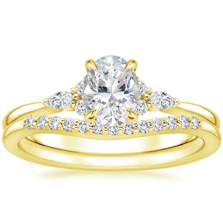 18K Yellow Gold Nadia Diamond Ring with Petite Curved Diamond Ring