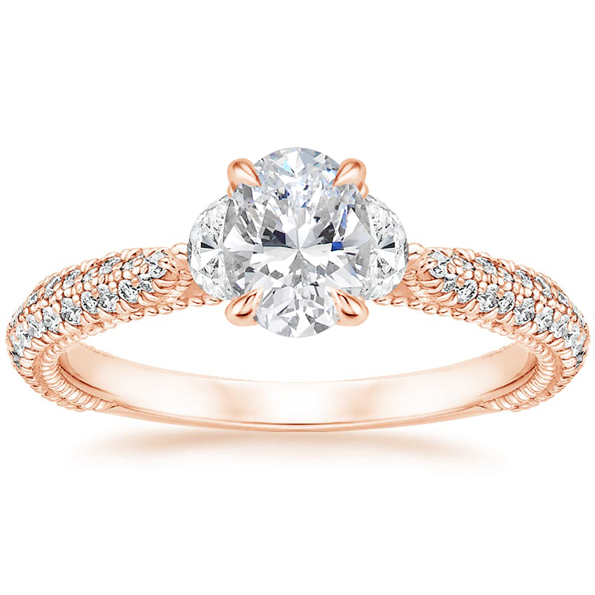 Oval Half Moon Engagement Ring