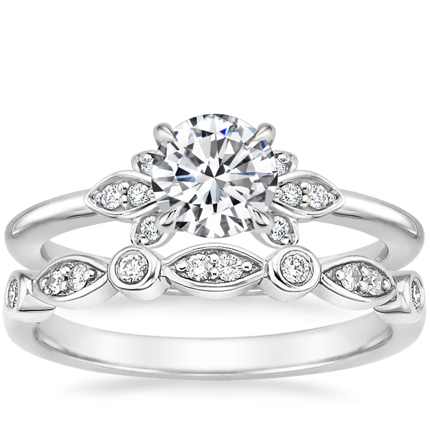 Platinum Fiorella Diamond Ring with Coronet Diamond Ring