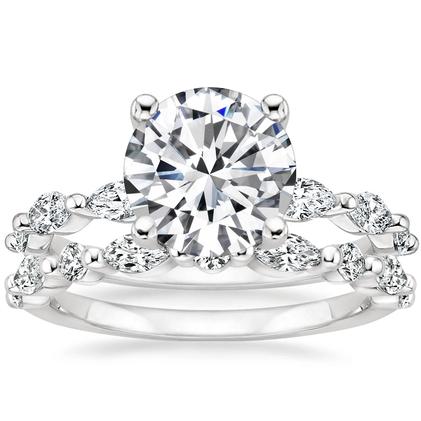 18K White Gold Joelle Diamond Ring (1/3 ct. tw.) with Versailles Diamond Ring (3/8 ct. tw.)