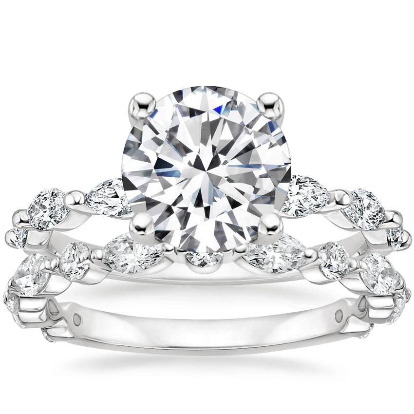 18K White Gold Joelle Diamond Ring (1/3 ct. tw.) with Luxe Versailles Diamond Ring (1/2 ct. tw.)