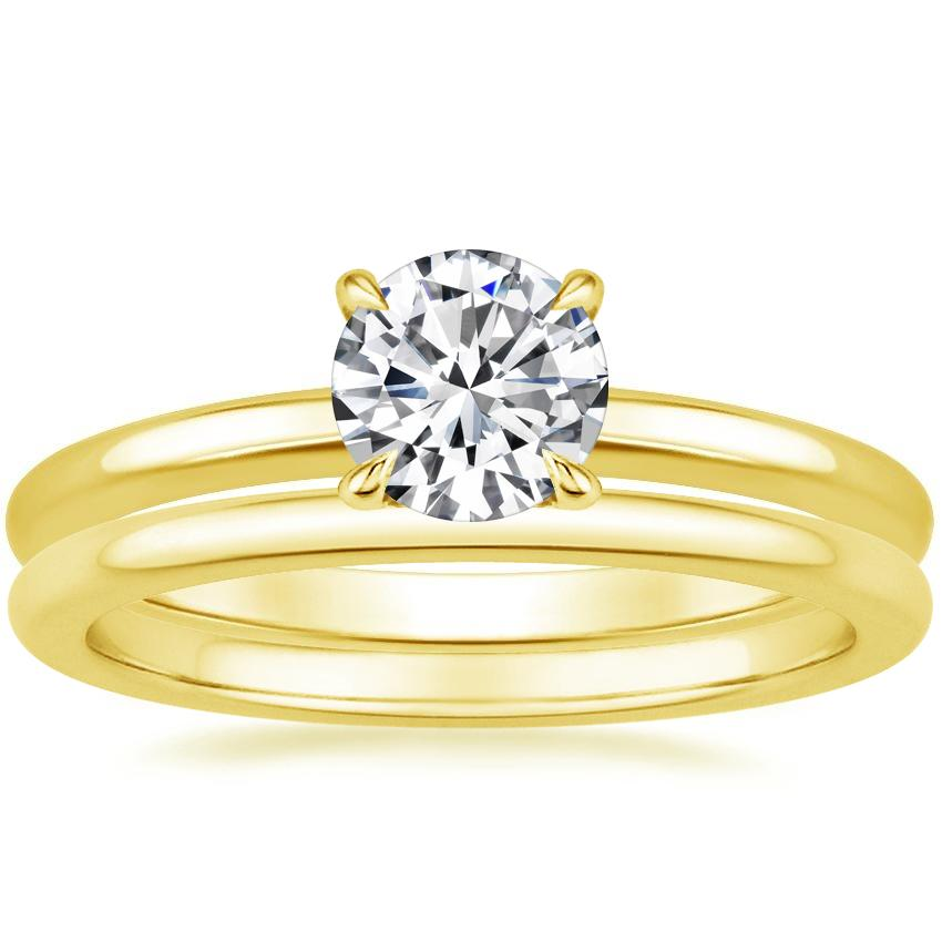 18K Yellow Gold Elodie Ring with Petite Comfort Fit Wedding Ring
