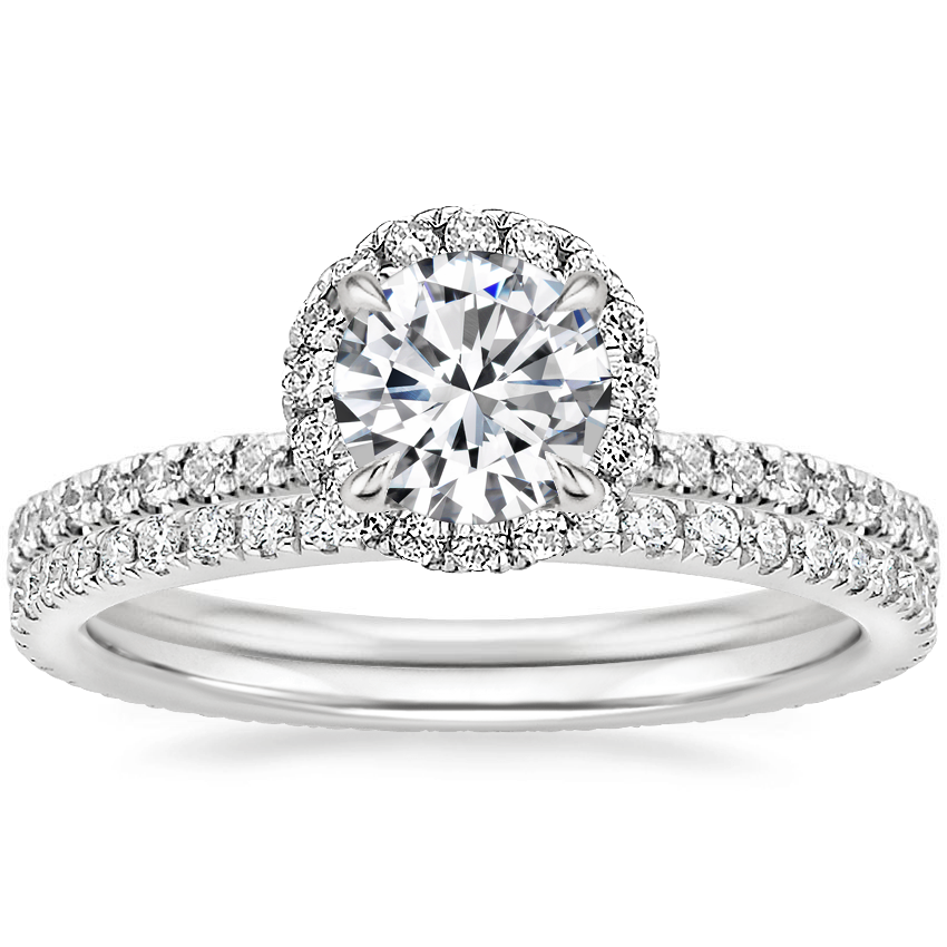 18K White Gold Waverly Diamond Ring (1/2 ct. tw.) with Ballad Eternity Diamond Ring (1/3 ct. tw.)