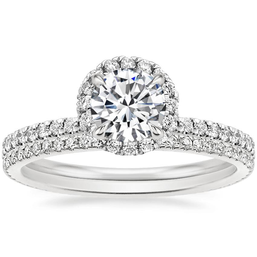 Platinum Waverly Diamond Ring (1/2 ct. tw.) with Whisper Eternity Diamond Ring (1/4 ct. tw.)