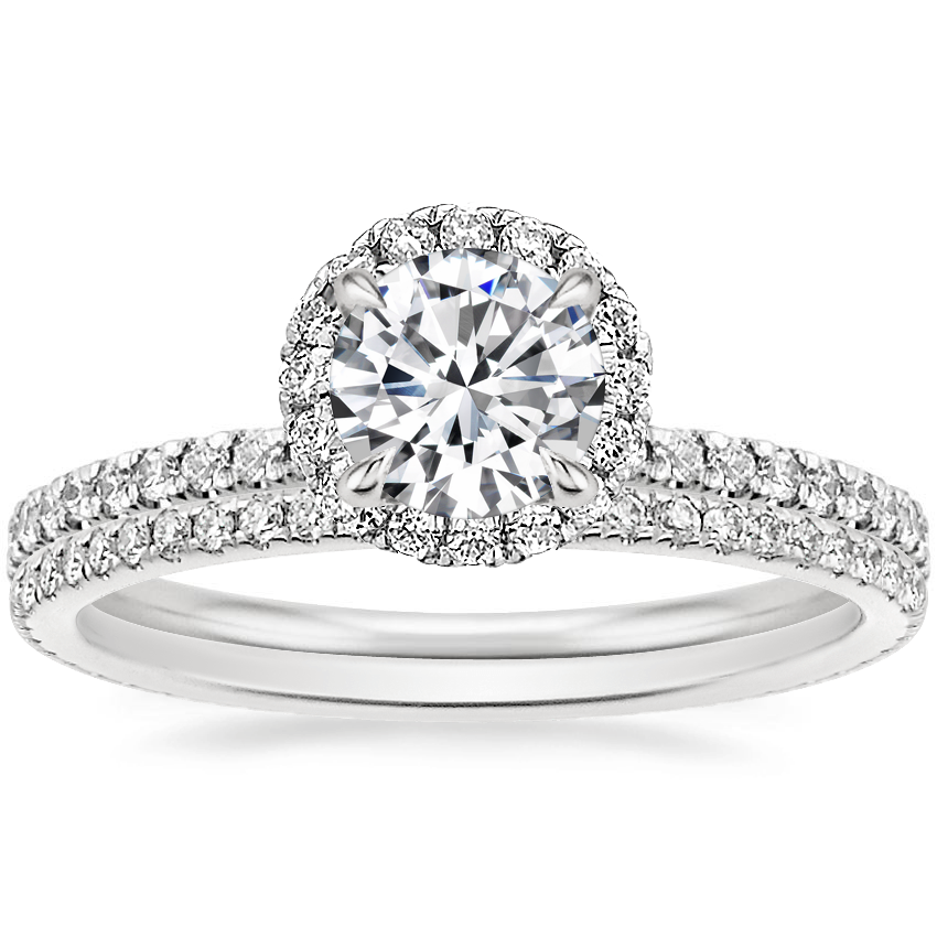 18K White Gold Waverly Diamond Ring (1/2 ct. tw.) with Whisper Eternity Diamond Ring (1/4 ct. tw.)