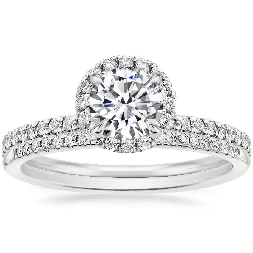 18K White Gold Waverly Diamond Ring (1/2 ct. tw.) with Whisper Diamond Ring (1/10 ct. tw.)