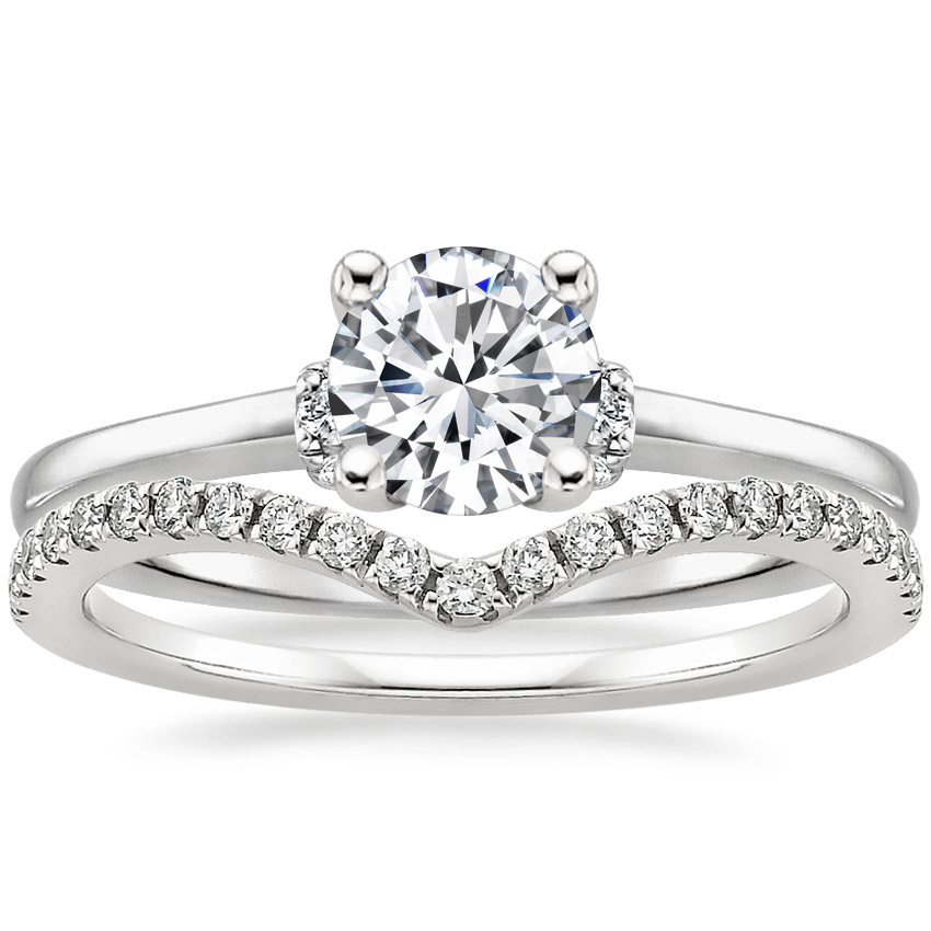 18K White Gold Leighton Diamond Ring with Flair Diamond Ring (1/6 ct. tw.)