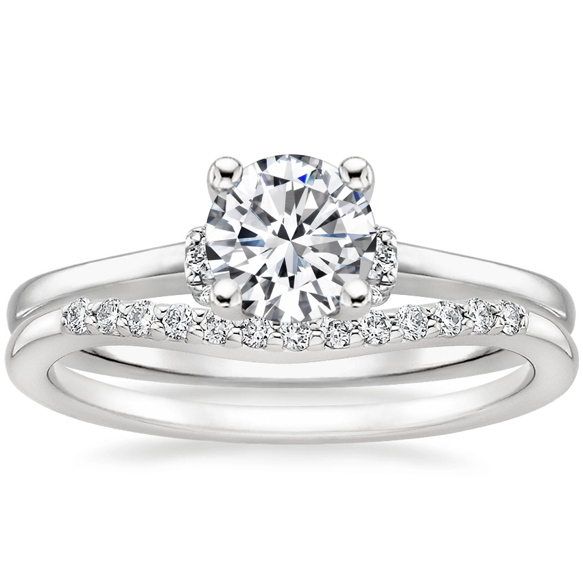 Platinum Leighton Diamond Ring with Petite Curved Diamond Ring (1/10 ct. tw.)