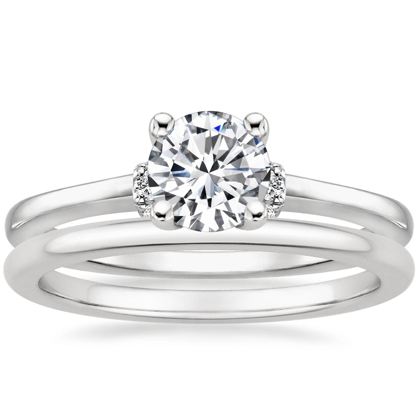 Platinum Leighton Diamond Ring with Petite Comfort Fit Wedding Ring