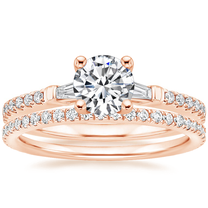 14K Rose Gold Luxe Tapered Baguette Diamond Ring (1/4 ct. tw.) with Luxe Ballad Diamond Ring (1/4 ct. tw.)