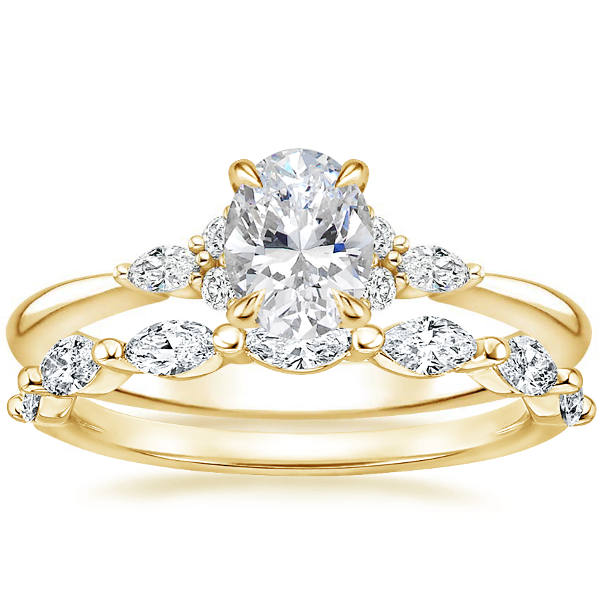 18K Yellow Gold Nadia Diamond Ring with Joelle Diamond Ring