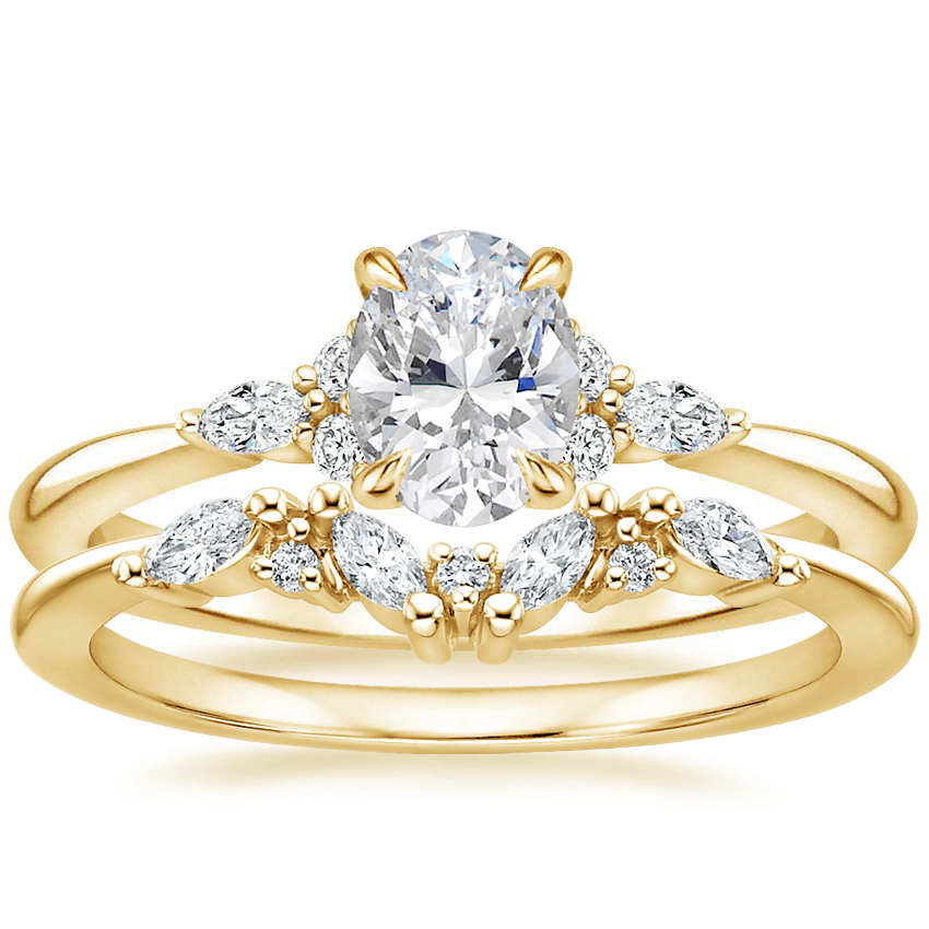18K Yellow Gold Nadia Diamond Ring with Yvette Diamond Ring