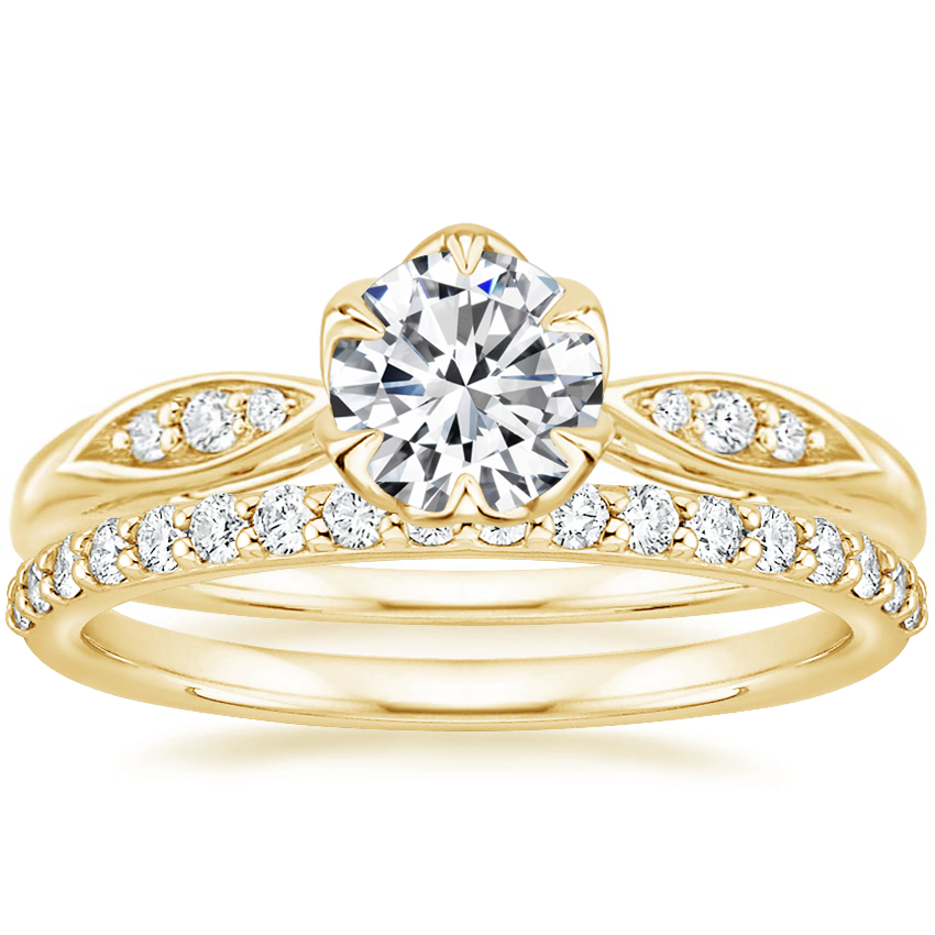 18K Yellow Gold Peony Diamond Ring with Petite Shared Prong Diamond Ring (1/4 ct. tw.)