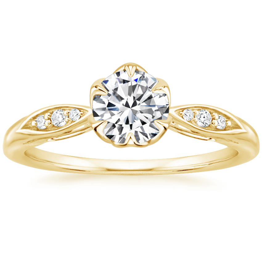 Round 18K Yellow Gold Peony Diamond Ring