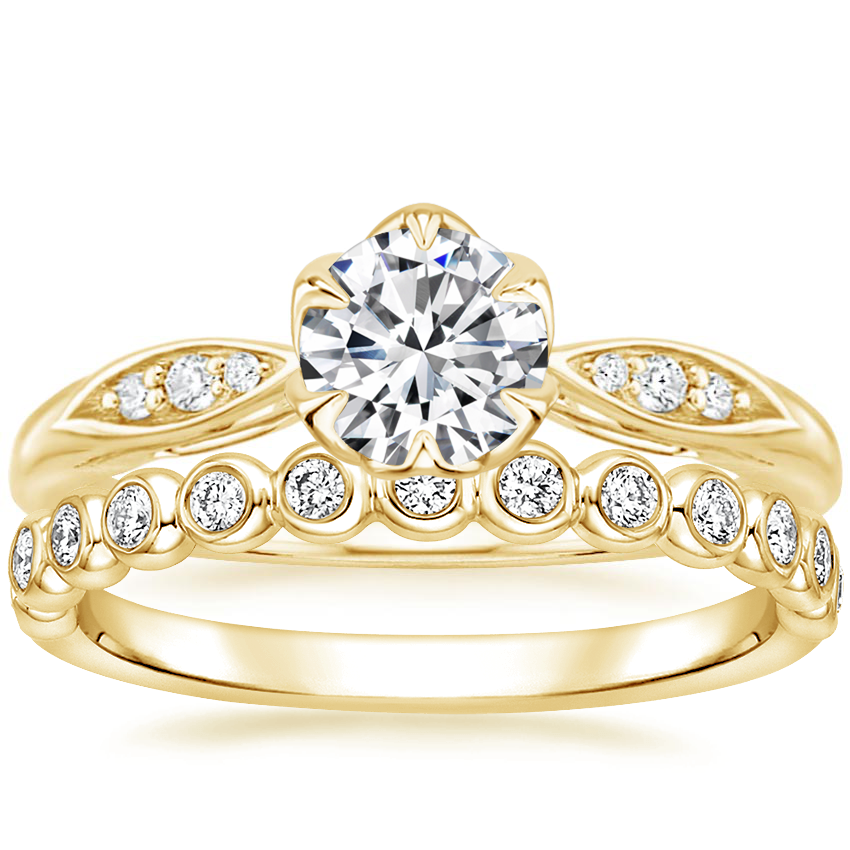 18K Yellow Gold Peony Diamond Ring with Eclipse Diamond Ring