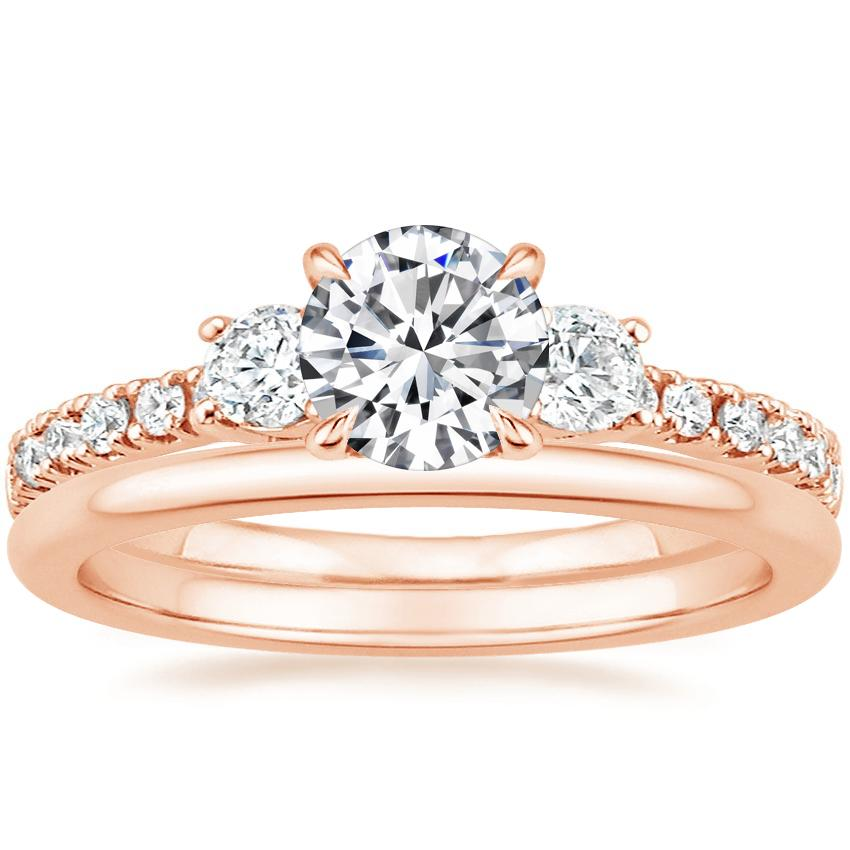 14K Rose Gold Radiance Diamond Ring (1/3 ct. tw.) with Petite Comfort Fit Wedding Ring