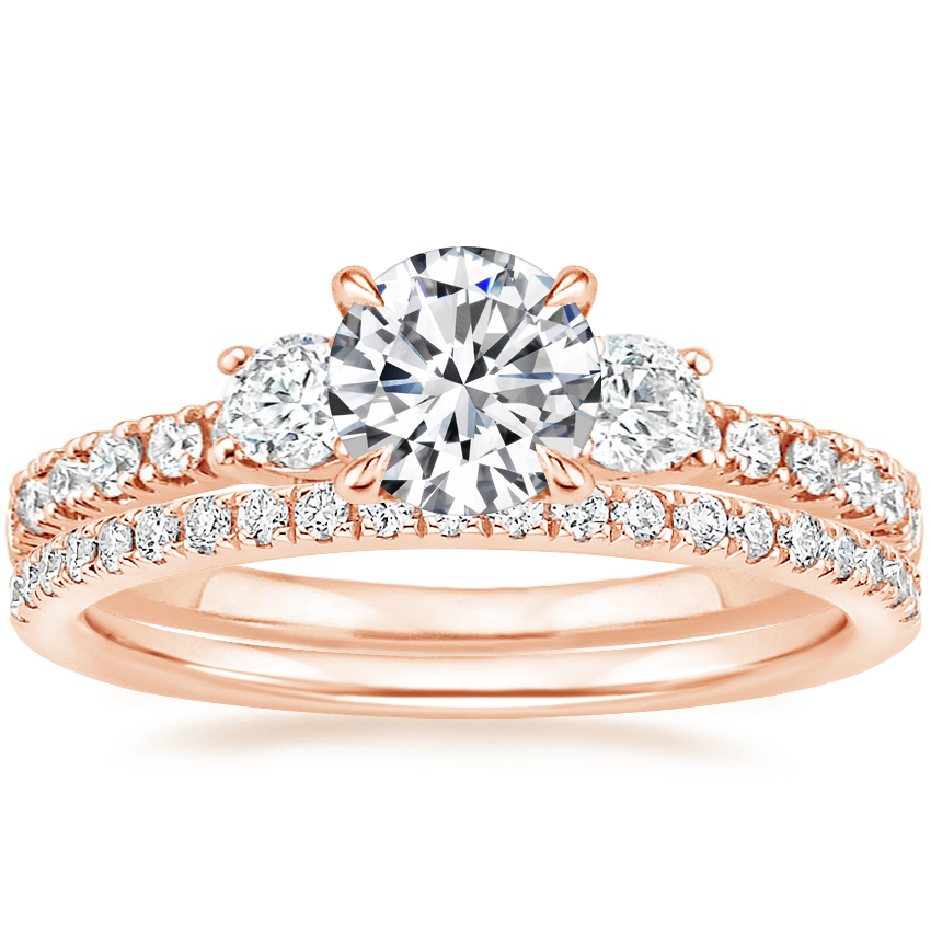 14K Rose Gold Radiance Diamond Ring (1/3 ct. tw.) with Ballad Diamond Ring (1/6 ct. tw.)