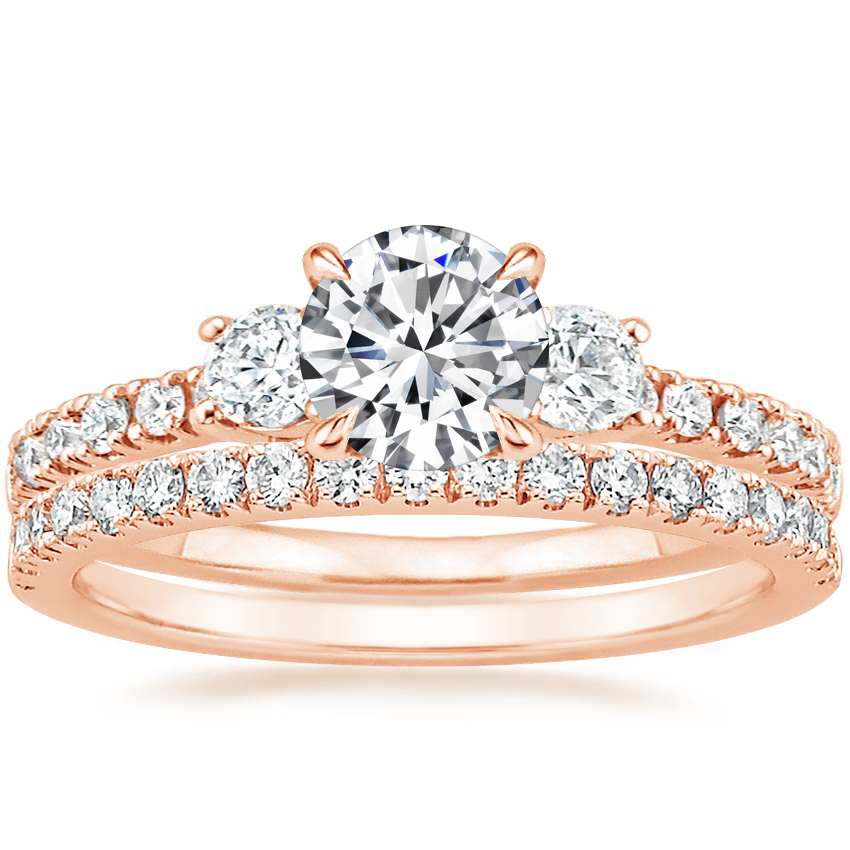 14K Rose Gold Radiance Diamond Ring (1/3 ct. tw.) with Bliss Diamond Ring (1/5 ct. tw.)