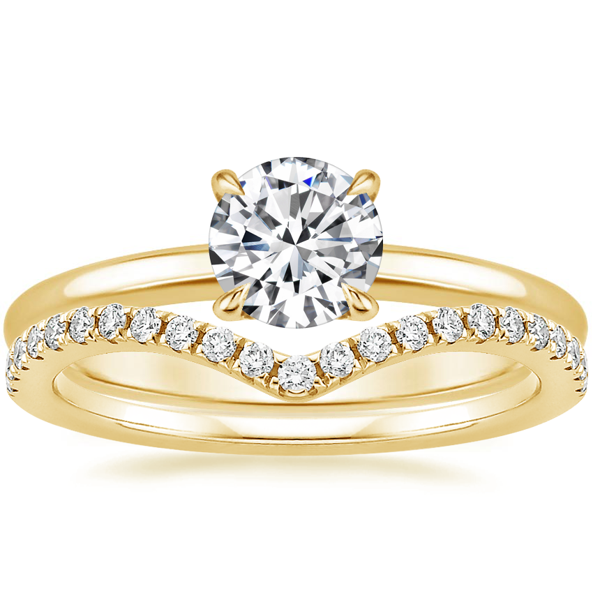18K Yellow Gold Elodie Ring with Flair Diamond Ring (1/6 ct. tw.)