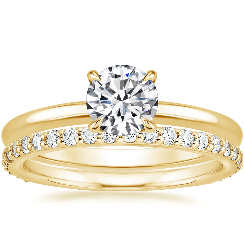 18K Yellow Gold Elodie Ring with Petite Shared Prong Eternity Diamond Ring (1/2 ct. tw.)