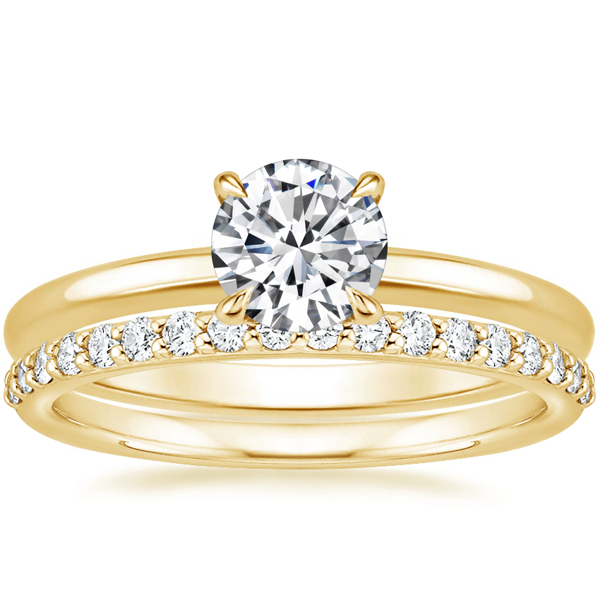 18K Yellow Gold Elodie Ring with Petite Shared Prong Diamond Ring (1/4 ct. tw.)