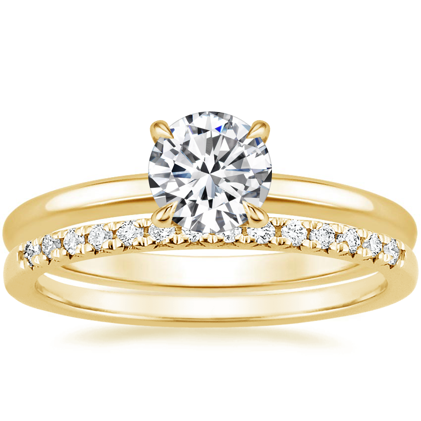 18K Yellow Gold Elodie Ring with Sonora Diamond Ring (1/8 ct. tw.)