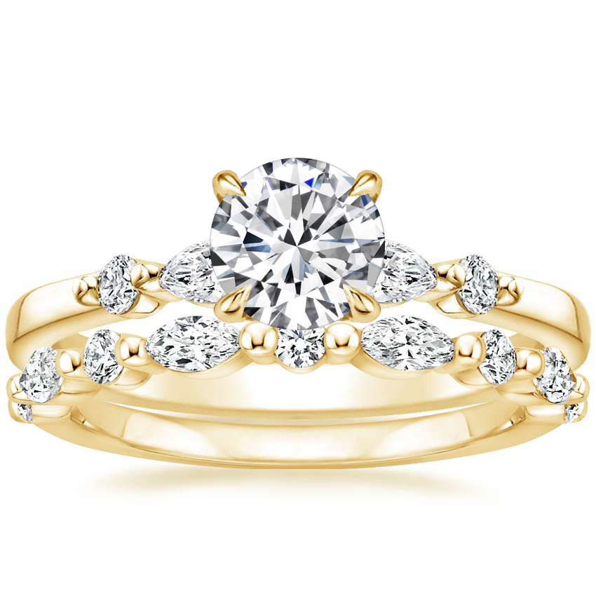 18K Yellow Gold Petite Versailles Diamond Ring (1/6 ct. tw.) with Versailles Diamond Ring (3/8 ct. tw.)