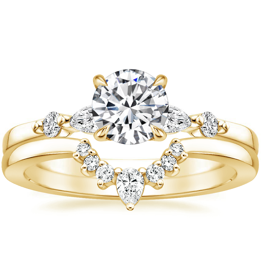18K Yellow Gold Petite Versailles Diamond Ring (1/5 ct. tw.) with Lunette Diamond Ring
