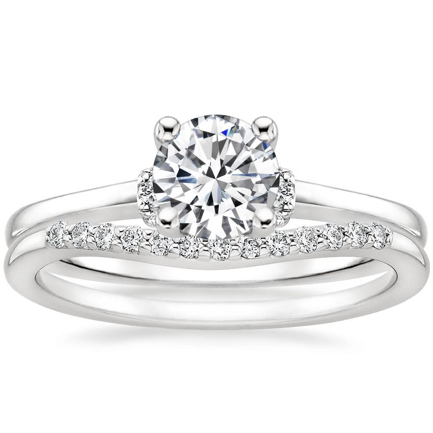 18K White Gold Leighton Diamond Ring with Petite Curved Diamond Ring