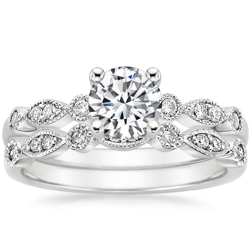18K White Gold Tiara Bridal Set, top view