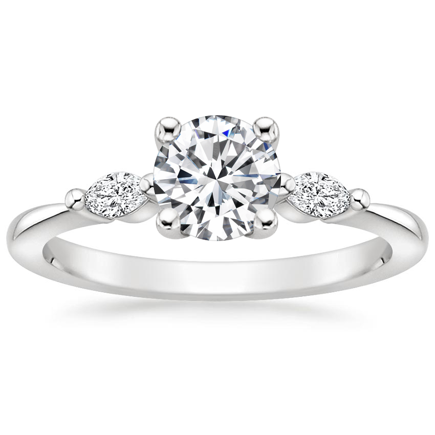 Round Marquise Three Stone Engagement Ring